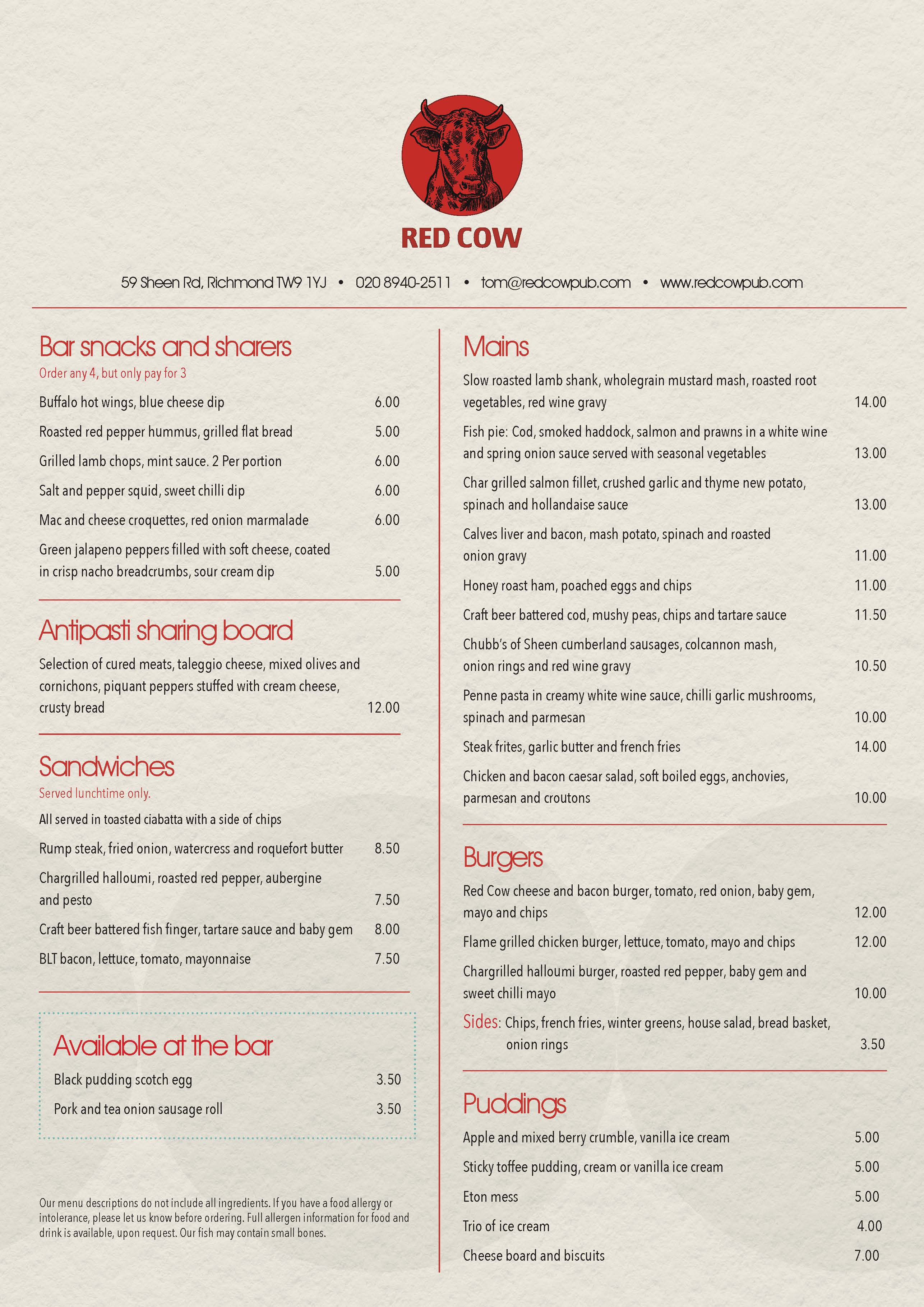 A4 Portrait Menu double sided A4MENU001_