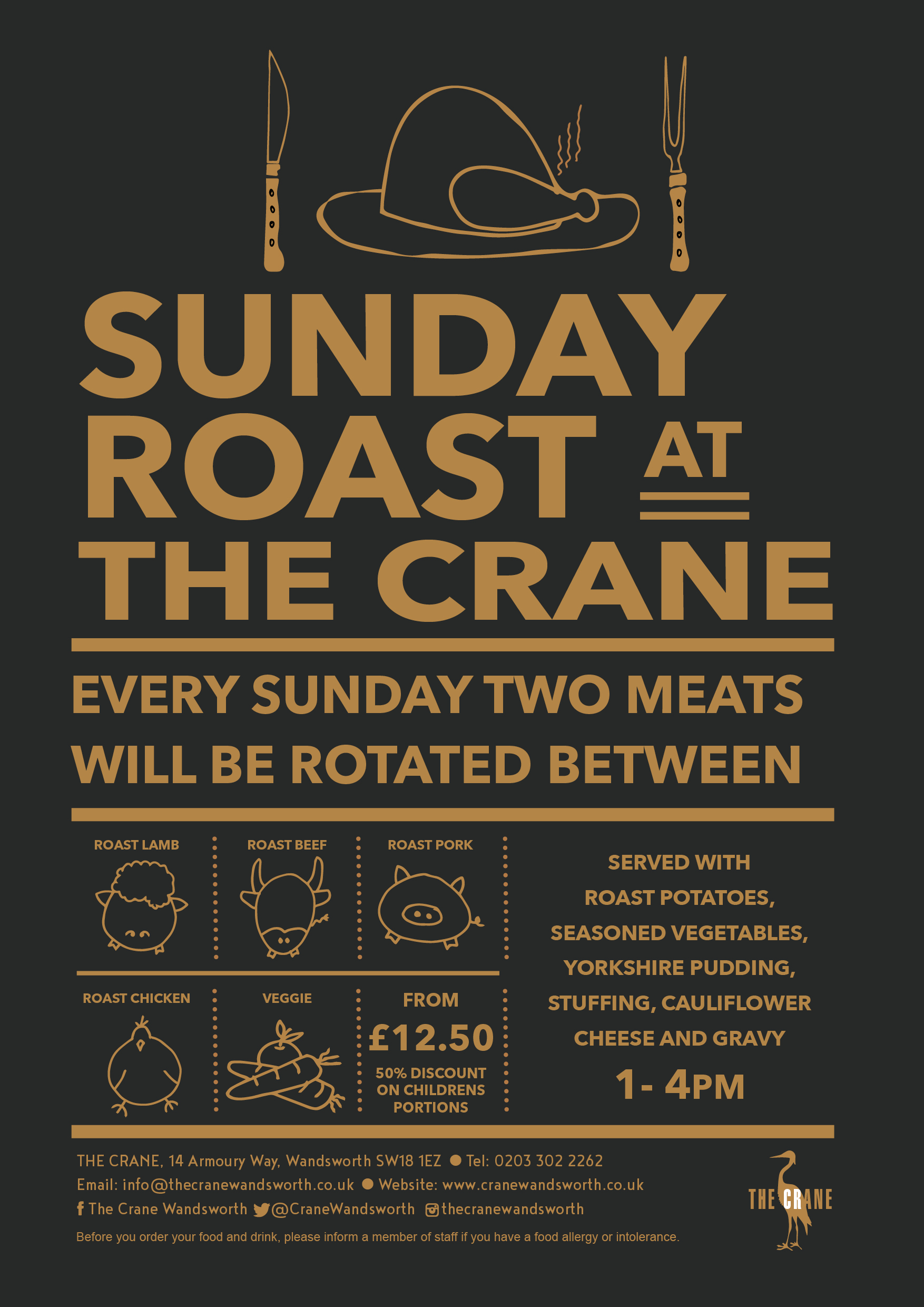 Crane Wandsworth sunday Roast poster Nov