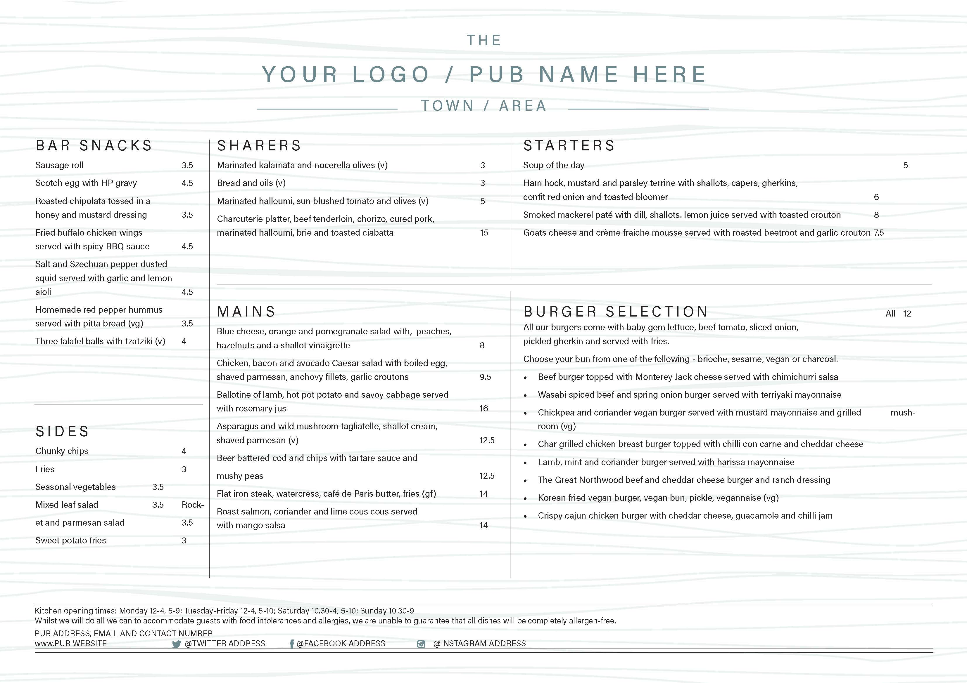 A3 Landscape Menu double sided A3MENU023