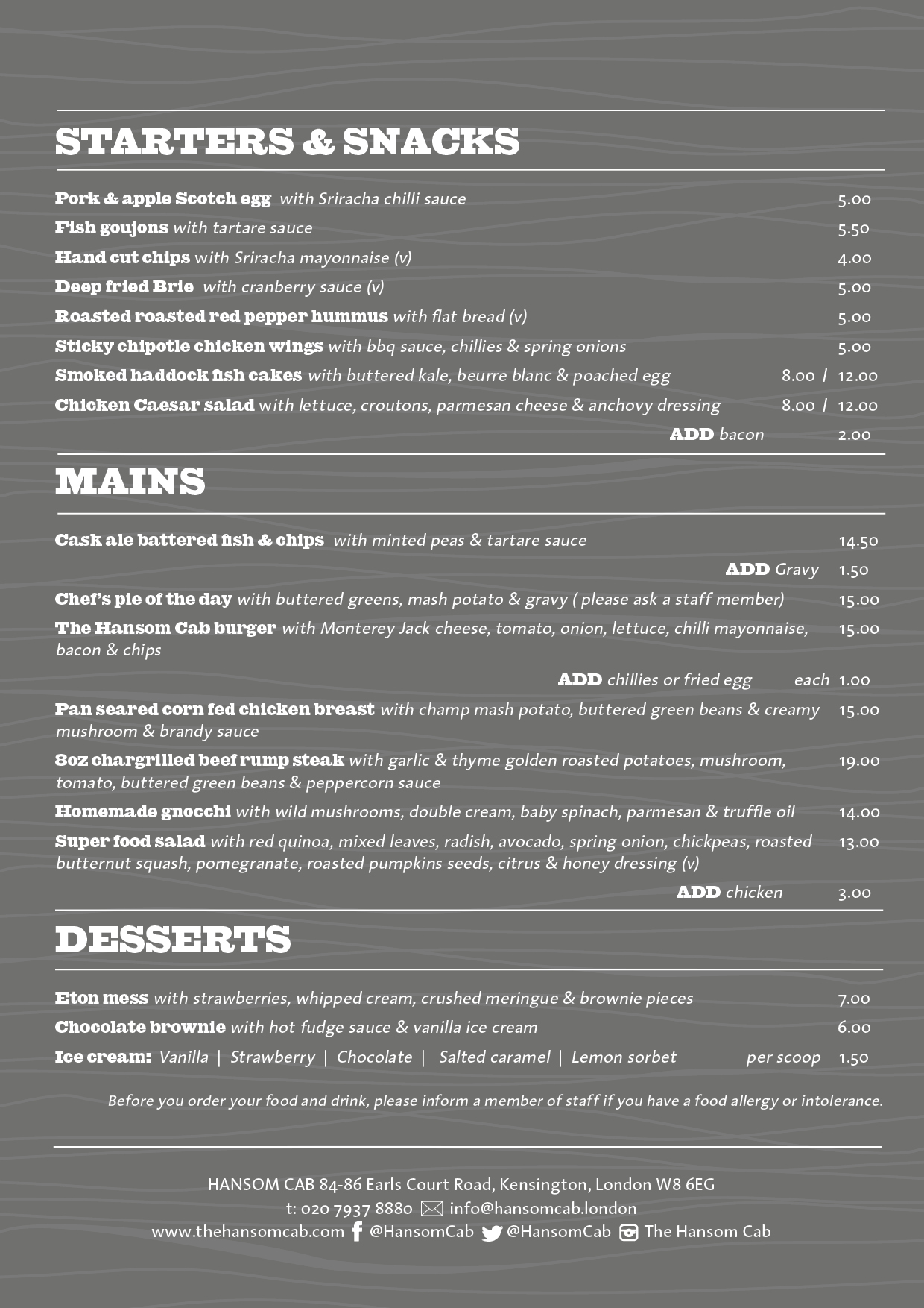 Hansom Cab Kensington A4 FOOD MENU