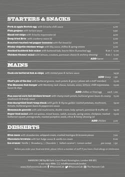 Hansom Cab Kensington A4 FOOD MENU