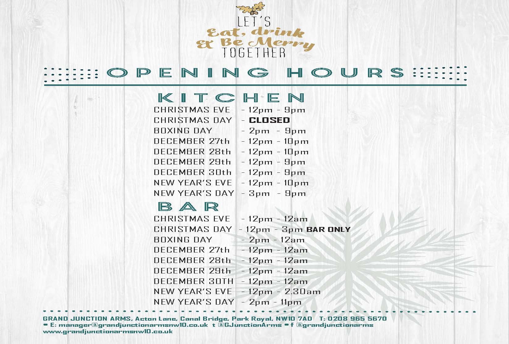 A4 double sided A4CHRISTMASOPENINGHOURS0