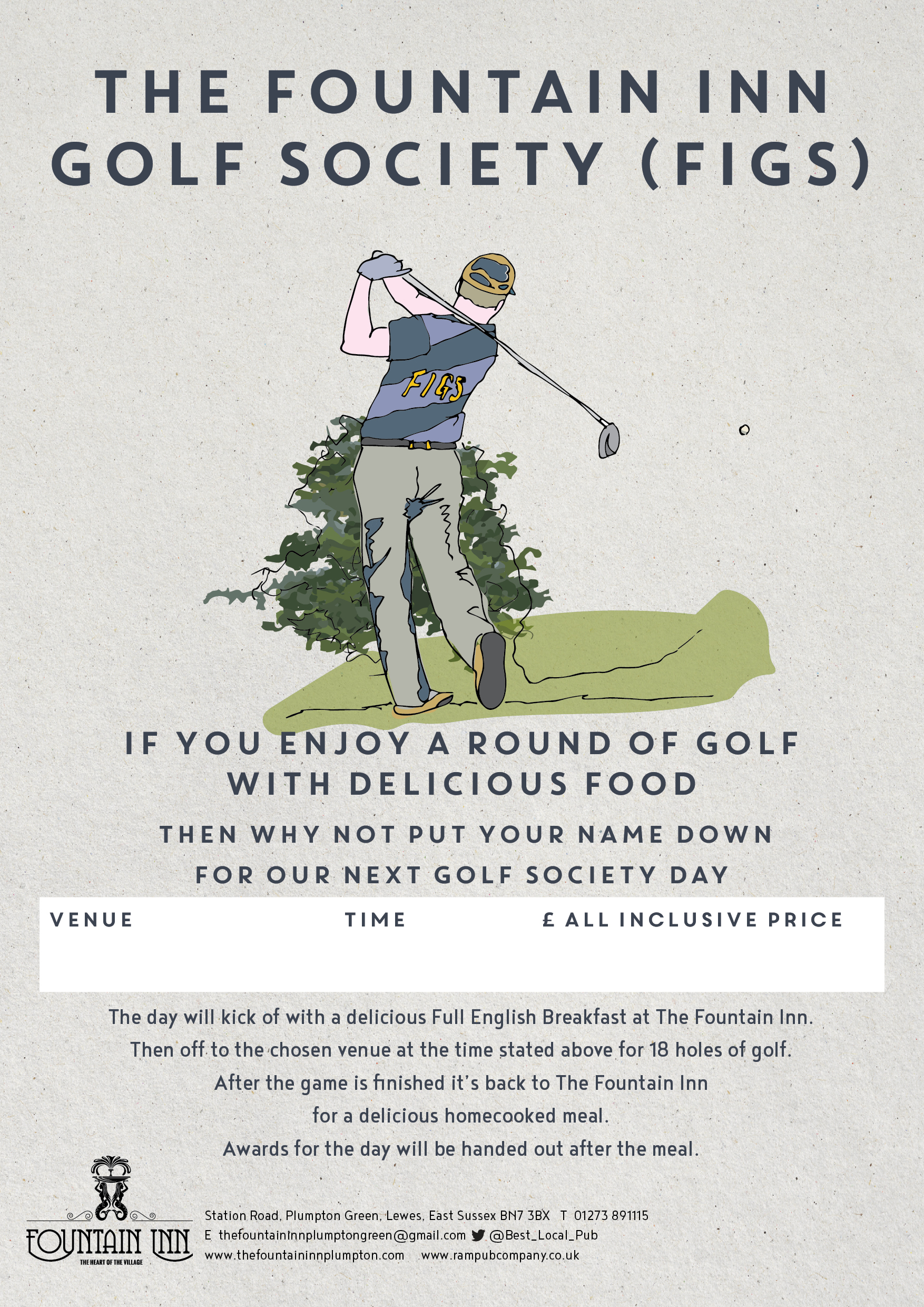 Fountain Inn Plumpton Golf Poster