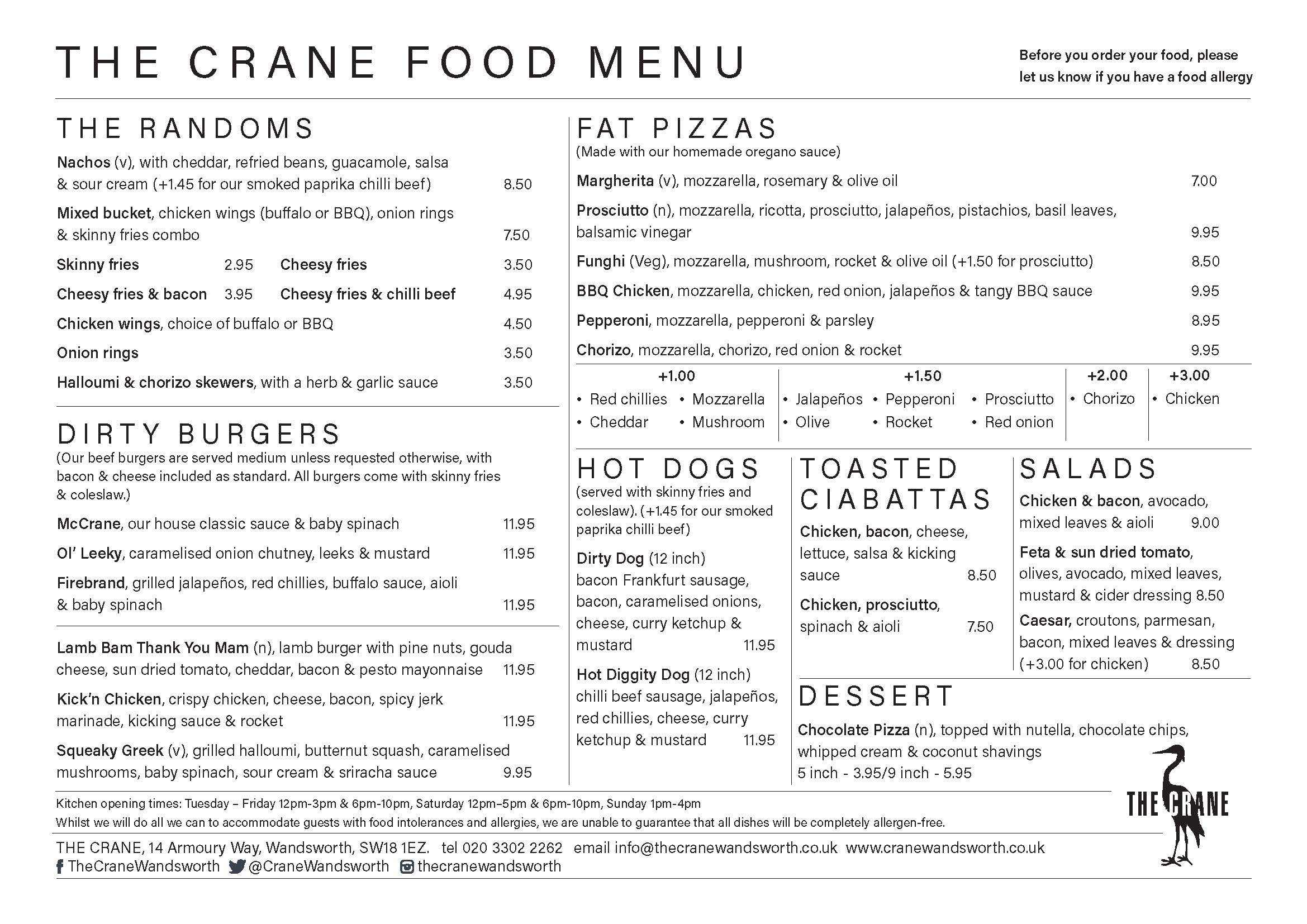 A4 landscape Menu  single sided A4MENU02
