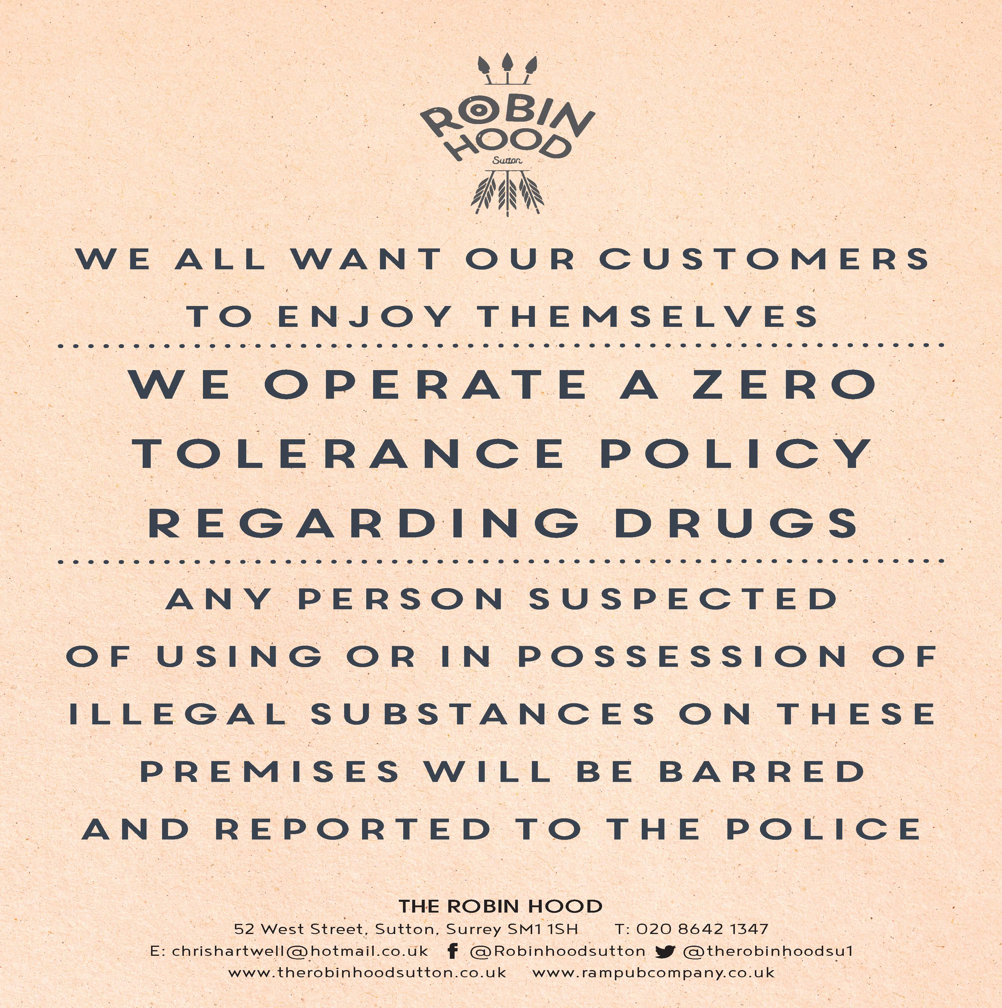 A4 Zero tolerance to drugs notice A4POST