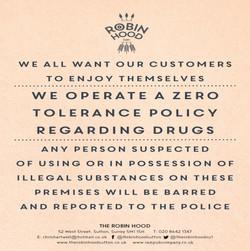 A4 Zero tolerance to drugs notice A4POST