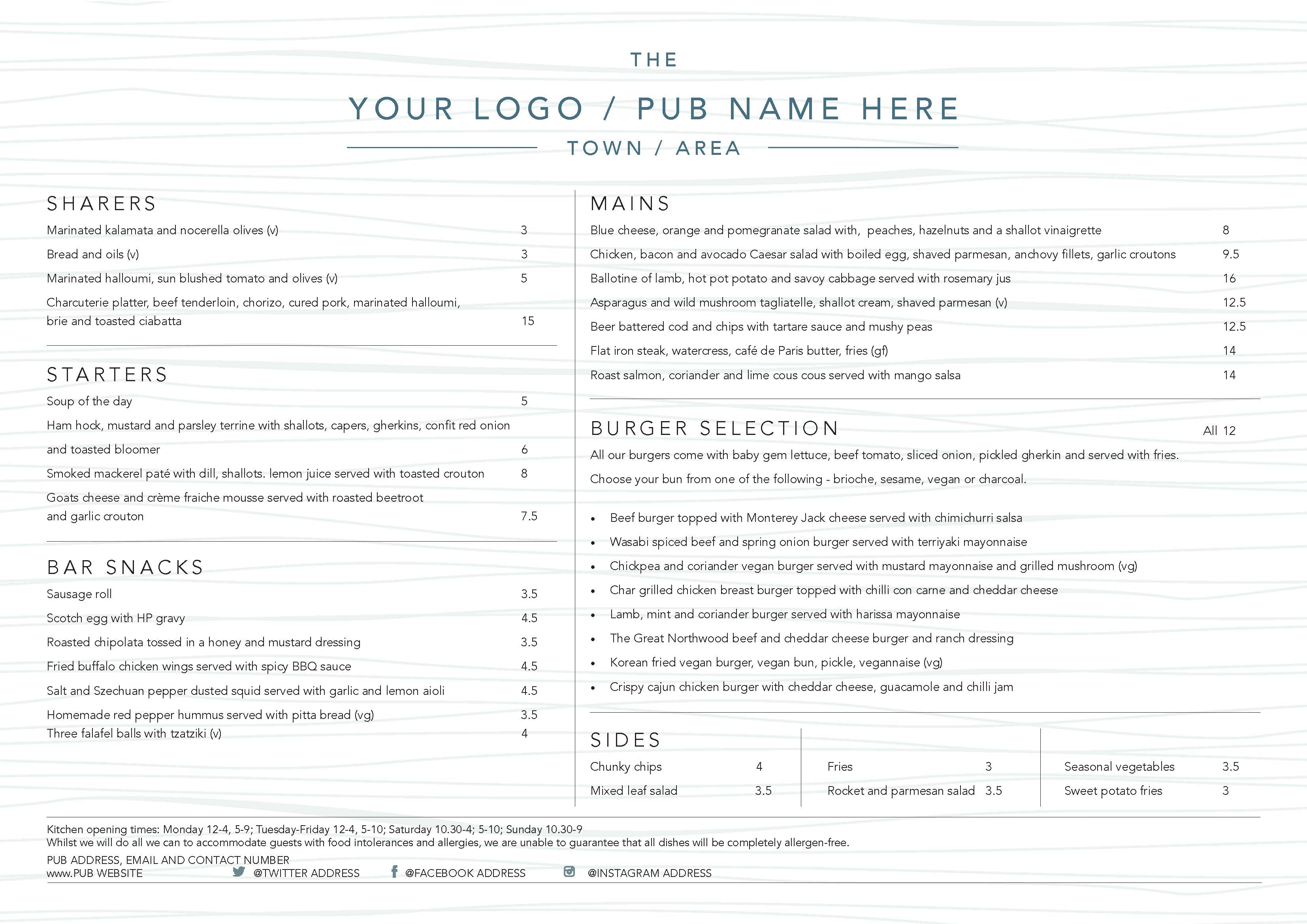 A3 Landscape Menu double sided A3MENU021