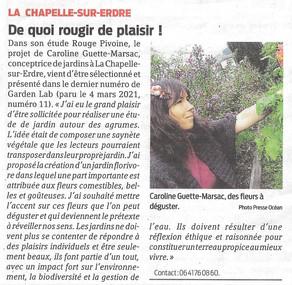 Rouge Pivoine Paysagiste dans Presse Océan ce 27 mars 2021