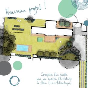 Nouveau projet : conception d'un jardin complet autour d'une maison d'architecte à Blain (44)
