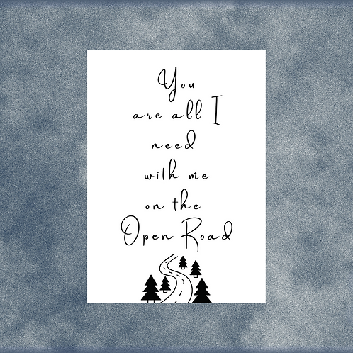 EMILY FAYE / 'Open Road' / Song Lyric / A4 Print