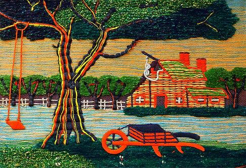 BARN IN A FARM - JUTE WALL HANGING