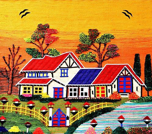 SUNSET HOUSE - JUTE WALL HANGING