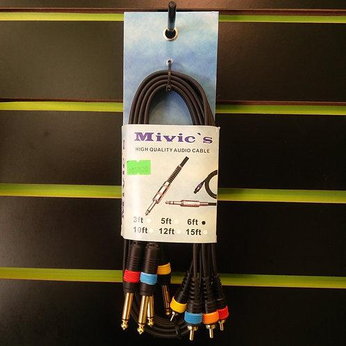 CABLE EXTENSION DE 4 PLUGS 1/4 MONO A 4 PLUGS RCA 6 PIES RH C-R