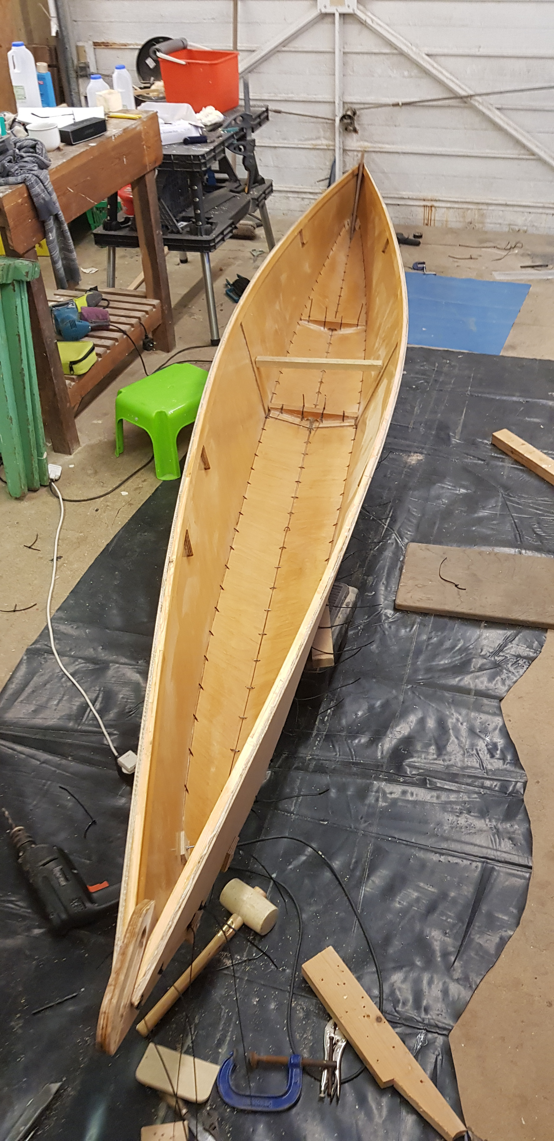 The hull takes shape - held together with cable ties