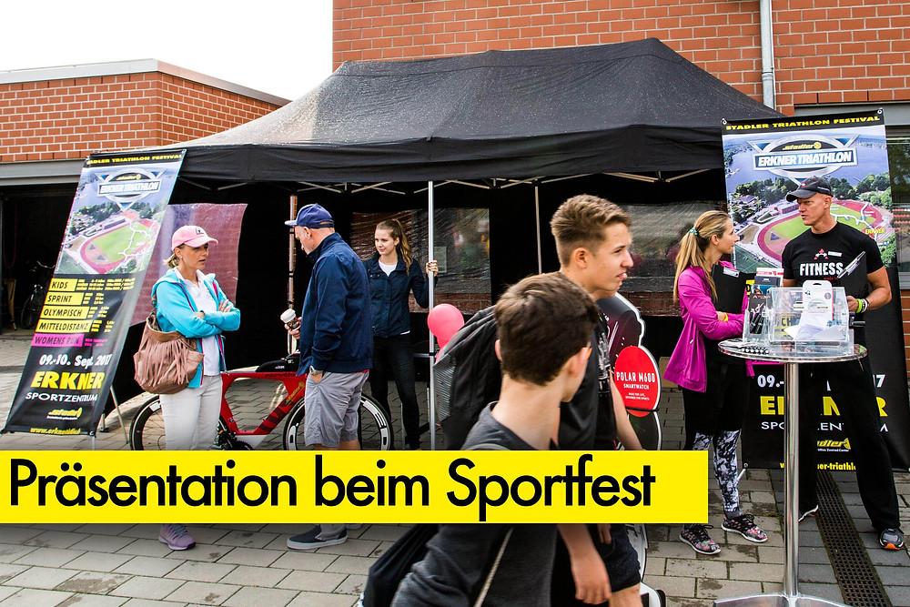 Promotion Stand Stadler Triathlon Erker beim Sportfest