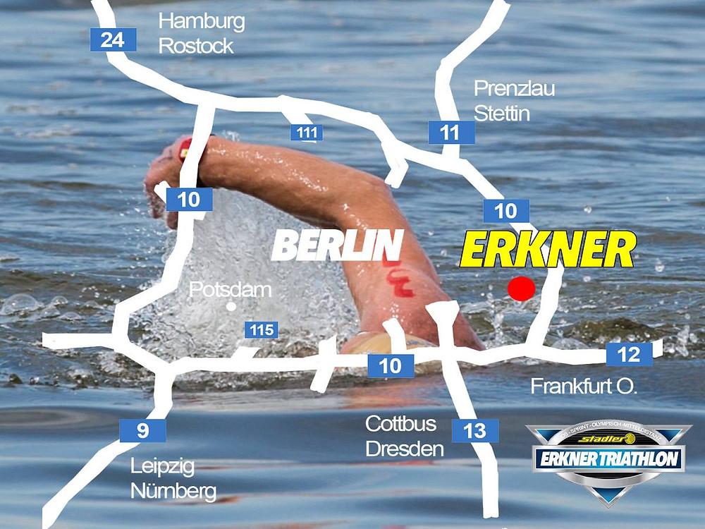 Erkner Triathlon 2017 in Berlin Brandenburg Map Lage Erkner