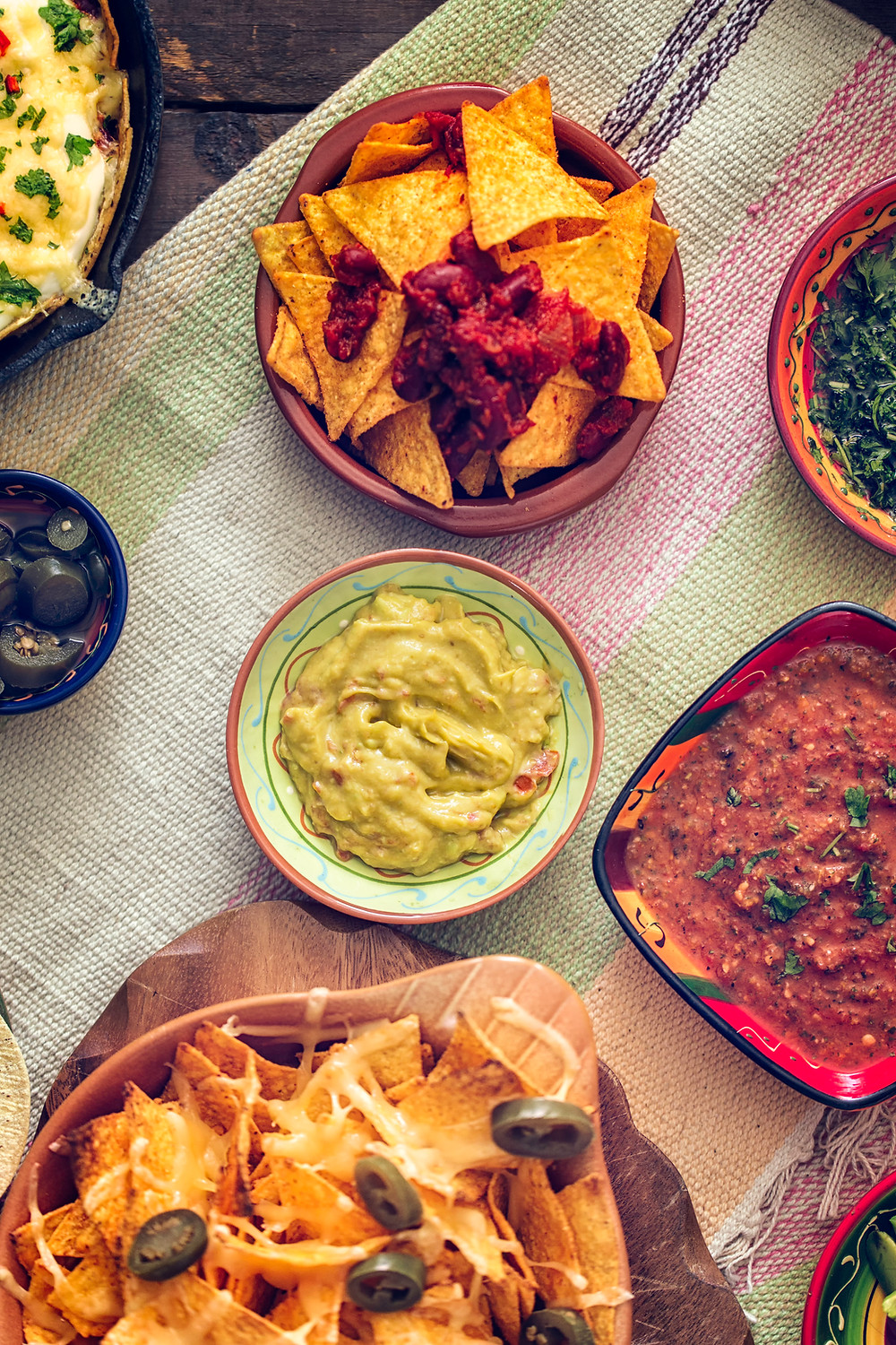 Tex-Mex favorites: chips, salsa, and guacamole