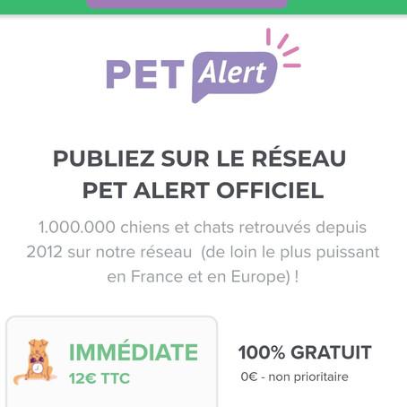 Pet Alert et/ou PetAlert, en partie payants...