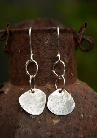 Handmade hammered silver earrings