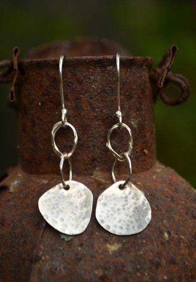 Handmade hammered silver earrings