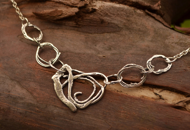 One off piece, sterling silver necklace
