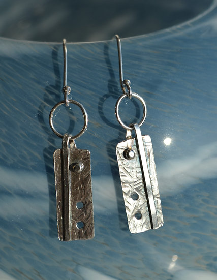 Oxidised rectangle and line earrings