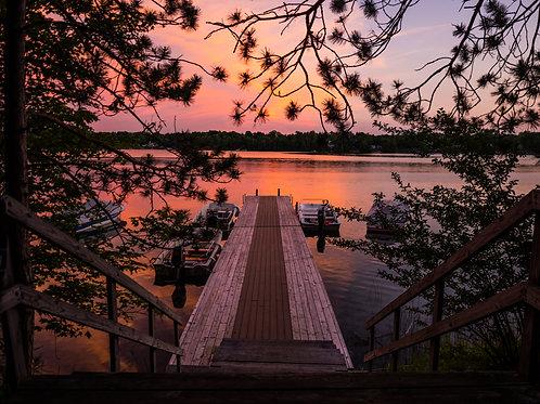 [Walden] Ski Boat Dock At Sunset