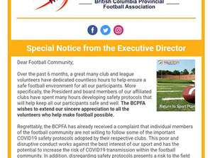 An important notice to all members of the football community.