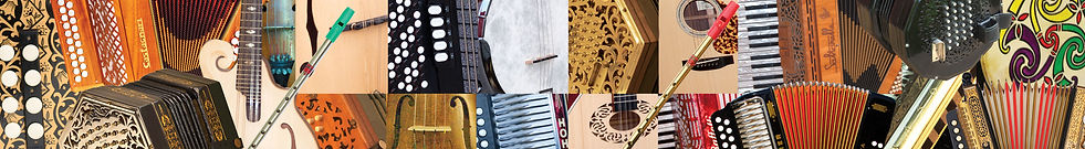 Image of a melodeon, a concertina, a mandolin, an accordion, a banjo, a bodhran, a fiddle, a bouzouki, a violin and a tin whistle.