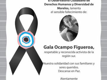 Exigen a Fiscalía de Morelos esclarecer asesinato de Gala Ocampo Activista Trans