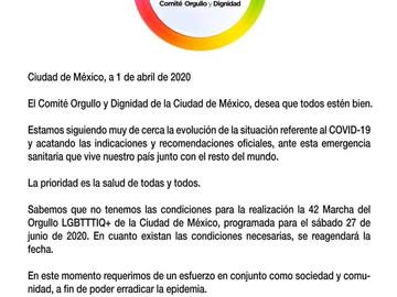La marcha del Orgullo LGBTTTI se pospone por pandemia