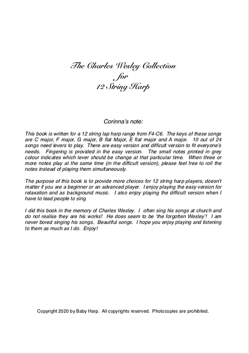 The Charles Wesley Collection for 12 String Harp PDF only