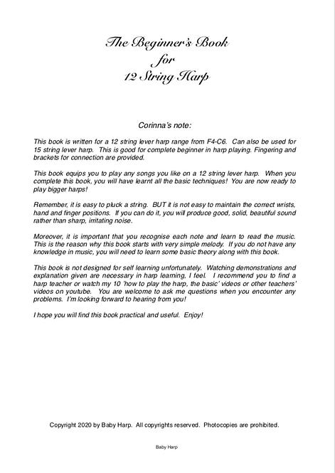 The Beginner's Book for 12 String Harp PDF only