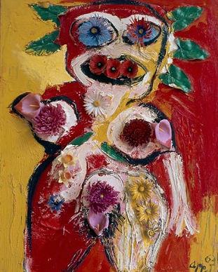 Karel_Appel_-_Žena_s_květinami_-_1963.