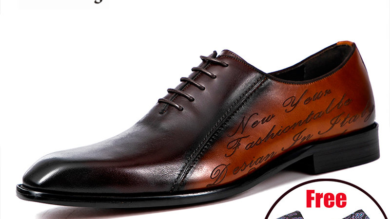 Goodyear Welted Shoes Designer Platform Brogues Genuine Leather Brown Laces