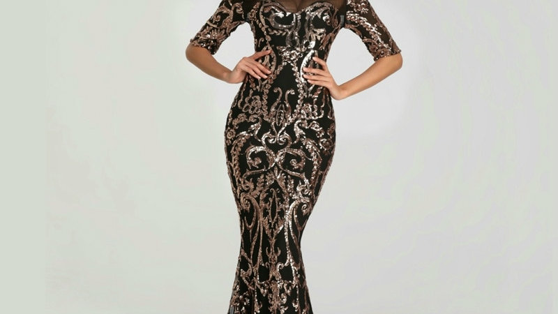 Elegant High-End Fashion Sequin Embroidered Beaded Long Dress Half Sleeve