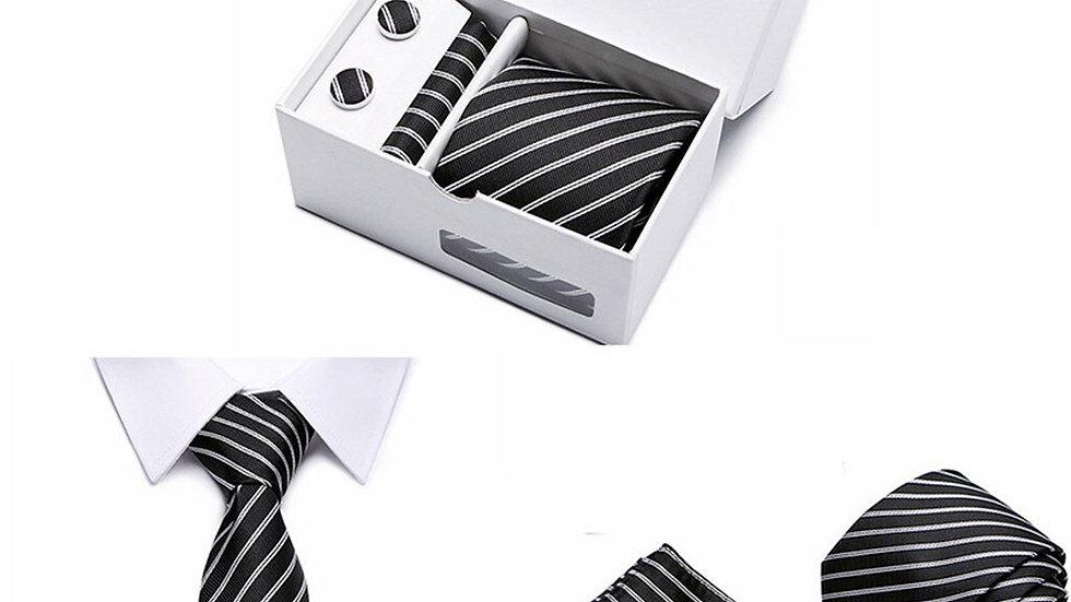 Men Floral Neck Tie Plaid Gift  8cm Navy Blue Jacquard Woven Black Solid Box#g3