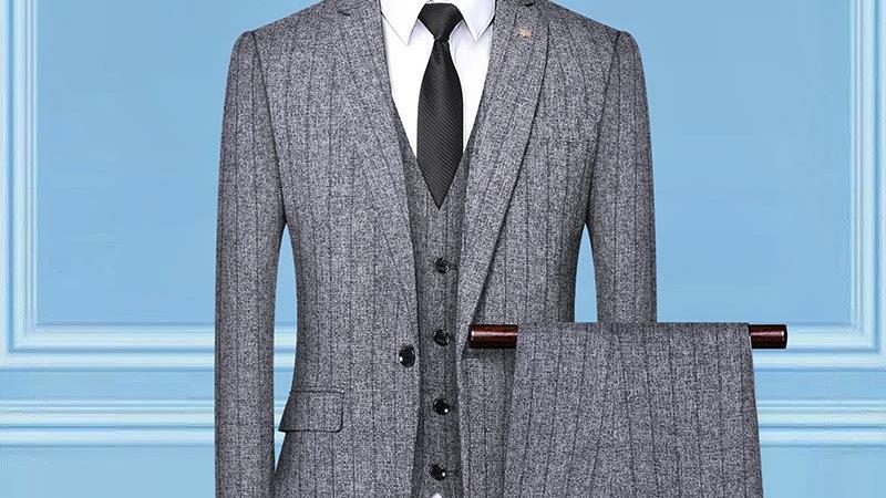 Striped 3 Piece  Suit Slim Fit Men Business Suits