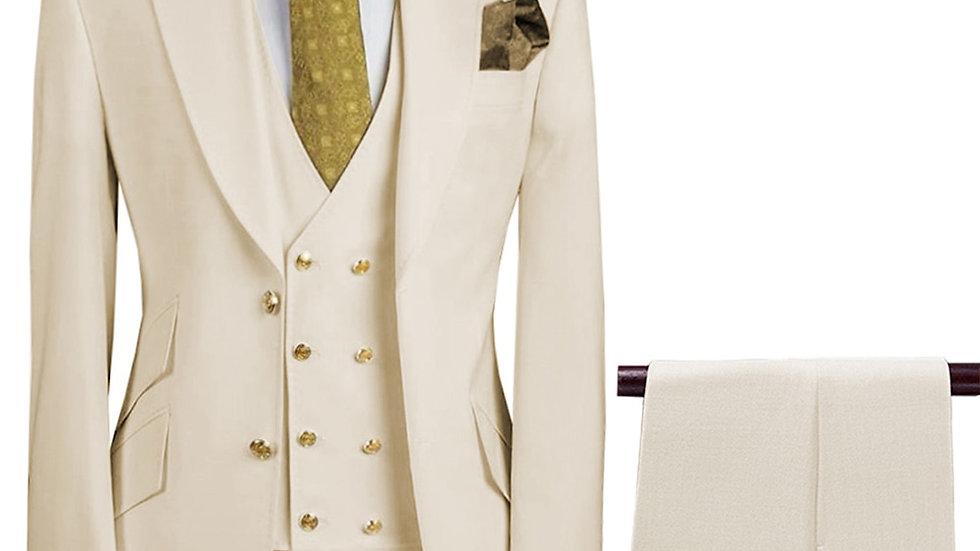 3 Pieces Slim Fit Business Suits Formal Wedding Suit(Blazer+Pants+Vest)