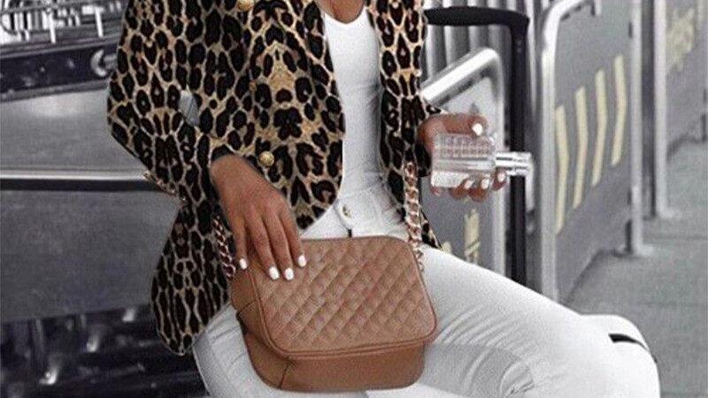 Leopard Blazer Women Three-Breasted Long Sleeve Duster Jacket Formal Wear