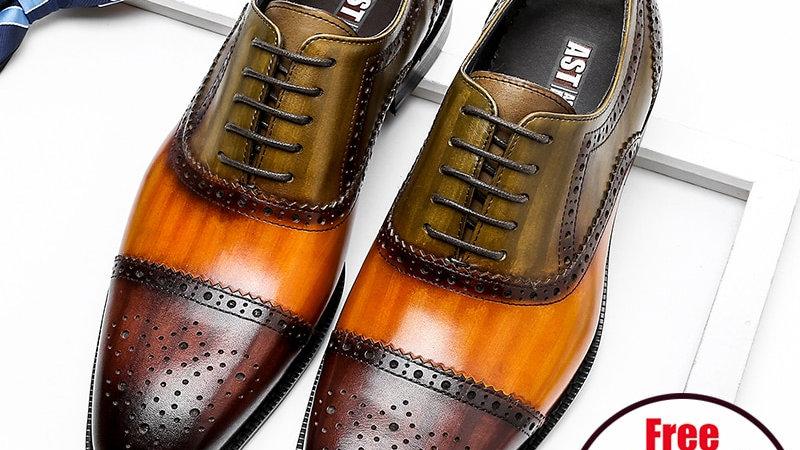 Men Genuine Wingtip Leather Oxford Shoes Laces Up Oxfords Dress Brogues