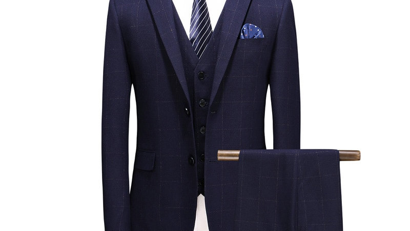 Men's Slim Fit Plaid Suit  Formal ( Jacket, Pants, Waistcoat)