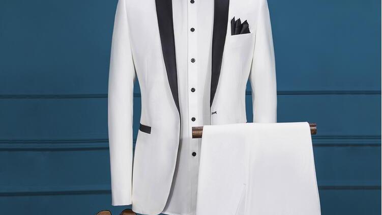 Men's Ivory White Slim Fit Suit Male Blazers Tuxedos Groom, Prom, Wedding