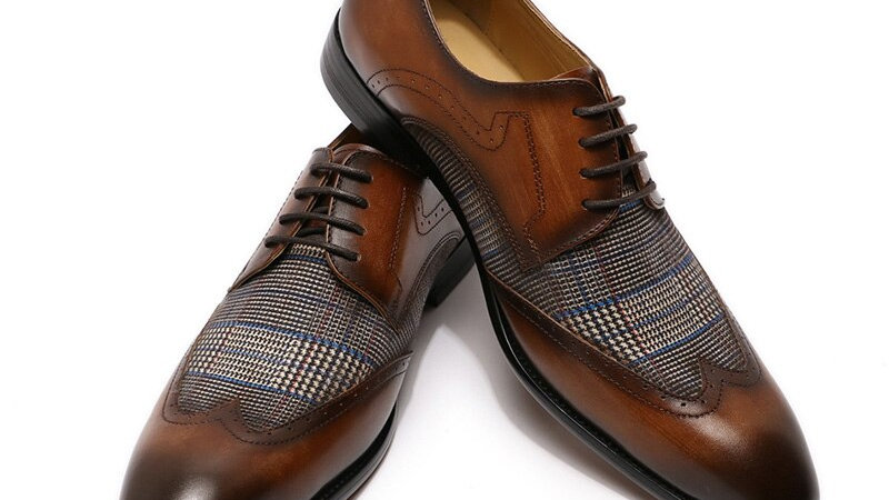 Genuine Leather Derby Oxford Shoes Lace Up Wingtip  Fashion Men Leather Shoes