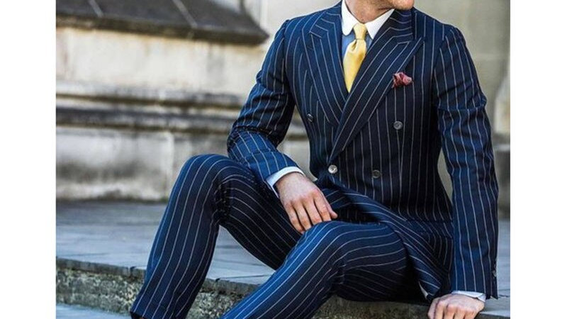 2 Pieces Double Breasted  Navy Striped Suits Slim Fit Tuxedos (Jacket+Pants)