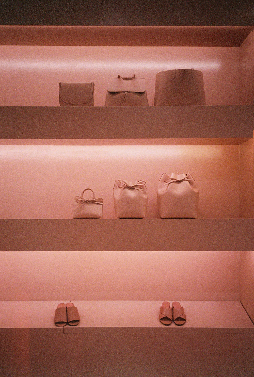 Mansur Gavriel store in Soho New York, an elegant pink fashion boutique