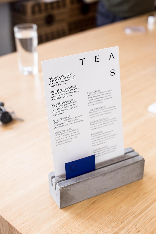 Joko visits coffee bar Toki in Amsterdam, tea menu.