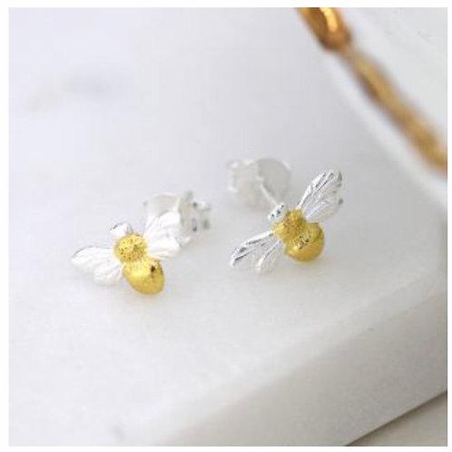 Sterling silver & gold bee stud earrings