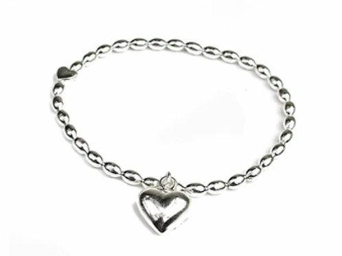 Puff heart bracelet