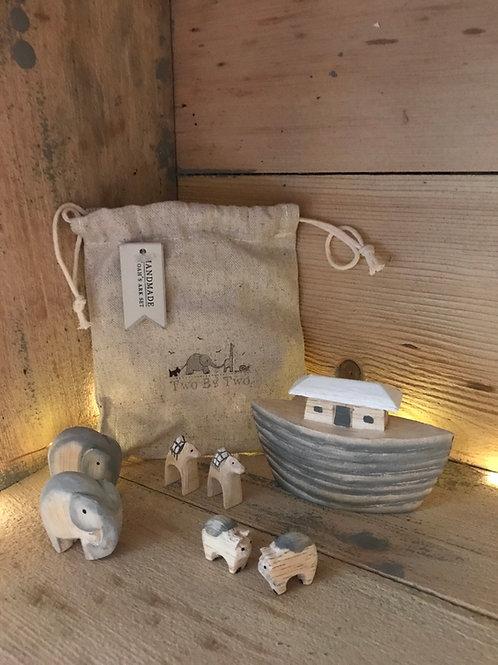 East of India handmade wooden Noah's arc set